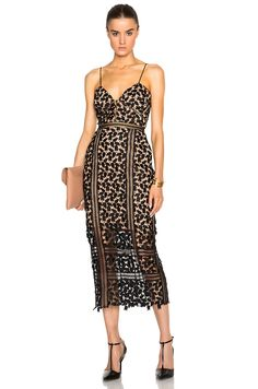 Self-portrait Arabella Midi Dress in Black & Nude