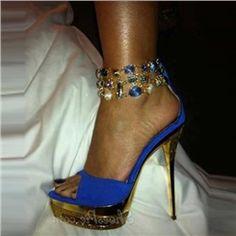 Gorgeous Blue Rhinestone Ankle Strap Dress Sandals