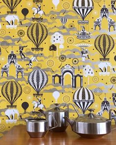 Pleasure Gardens by Mini Moderns - Mustard / Silver : Wallpaper Direct