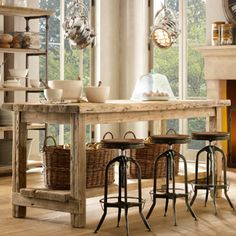 shabby chic kitchen island | island the generous proportions of this farmhouse table kitchen island ...