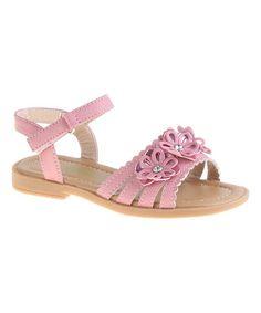 Look at this #zulilyfind! Pink Flower-Accent Strappy Sandal #zulilyfinds