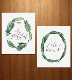 Be Grateful & Kind Calligraphy Art Print Set by Anna Tovar