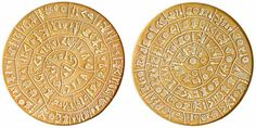 The Phaistos Disc is an enigma, a circular clay disc covered with inscribed symbols on both sides that are unlike any signs in any known writing system. It was discovered in the ancient city of Phaistos in Southern Crete in 1908. It is thought to date to around 1700 BC.
