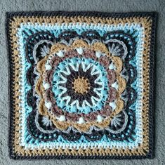 26 July 2016 Time to tackle some more ambitious Polly Plum squares for a cosy Afghan, cushion cover, wall hanging… whatever takes my fancy. Crochet Square Blanket, Crochet Blocks, Granny Square Crochet Pattern, Crochet Squares, Crochet Granny, Crochet Afghans, Granny Squares, Crochet Mandala Pattern, Crochet Art
