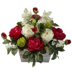 """20"""" MIXED SILK ARTIFICIAL RED FLORAL FLOWER ARRANGEMENT w/ WHITE WASH PLANTER #NearlyNatural"""