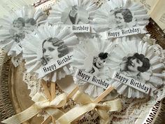Flapper Girls. Six Ruffled Happy Birthday Cupcake Toppers with 1920's Girls. $10.00, via Etsy.