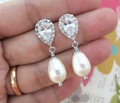 Carolyn  Cubic Zirconia Teardrop earrings by GlitzAndLove on Etsy