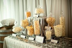 Popcorn Bar Wedding! We love Popcorn Bars! Re-Pinned By www.PopcornDude.com