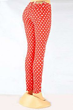 - Red and White Polka Dot Skinny Jeans #