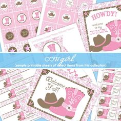 Printable Pink Paisley Cowgirl Birthday Party Decor with Banner, Cupcake Toppers, Favor Tags, and more. $14.95, via Etsy.