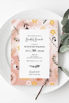 Bridal Shower Invitation Template | Editable Bridal Shower or Tea Invitation | Modern Boho Floral | Peach | Instant Download | 5x7 Sprinkle Invitations, Bridal Shower Invitations, Baby Shower Templates, Summer Bridal Showers, Garden Shower, Modern Boho, Rsvp, Peach, Floral