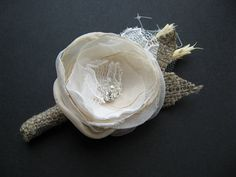 Burlap Wedding boutonniere groom accessory wheat by LeFlowers, $20.00