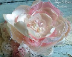 Linen and Lace Fabric Flowers Custom Made by RhysandRaesCreations