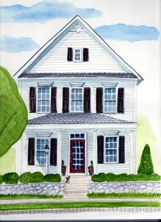 Custom Whimsical Watercolor House Portrait by PicketFencePortraits, $125.00