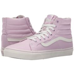 Vans SK8-Hi Slim (Winsome Orchid/Blanc de Blanc) Skate Shoes ($55) ❤ liked on Polyvore featuring shoes, sneakers, vans, vans high tops, skate shoes, high top trainers, hi top skate shoes and high top skate shoes