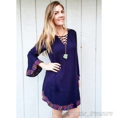 LISTING || COMMENT SIZE NEEDED BELOW Everything about this dress is great! Is incredibly smooth and comfortable. Gorgeous Navy blue, sleeve with tassels. 100% Cotton! S, M, L 2-2-1 Dresses