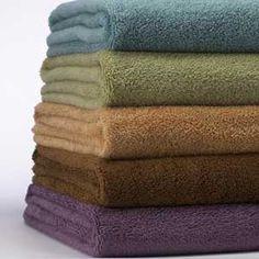 Natural MicroCotton Towels - Aqua, Bamboo, Eggplant