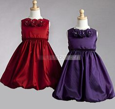 Attractive A-line Tea-length Round-neck Flower Girl Dress with Flowers