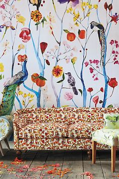 Artemis Wallpaper by House Of Hackney in Black, Wall Decor at Anthropologie Garden Chinoiserie Mural Frühling Wallpaper, Spring Wallpaper, Painted Wallpaper, Chinoiserie Wallpaper, Animal Wallpaper, Colorful Wallpaper, Decorating Jobs, Interior Decorating, Most Beautiful Wallpaper