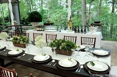 Outdoor Champagne Bar. Picnic Tables Setup