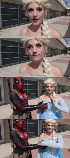 Oh Deadpool. (Remember: Cosplay does not equal consent. Always ask before doing stuff like this 💝) Dc Comics, Wade Wilson, Me Anime, Disney, Spideypool, Best Cosplay, Funny Cosplay, Marvel Dc, Fangirl