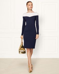 Color-Blocked Silk Dress - Collection Apparel Short Dresses - RalphLauren.com