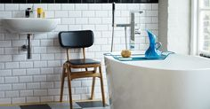 Modern bathroom inspired by the 60´s. From Fired Earth.