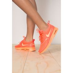 Nike Air Max Thea Trainers ($149) ❤ liked on Polyvore featuring shoes, sneakers, nike sneakers, neon shoes, wedge heel shoes, wedge sneakers and waist trainer