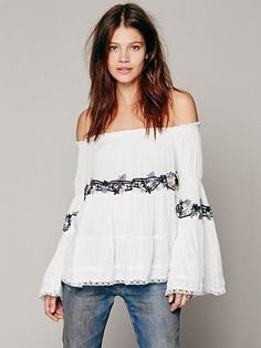 b2b010d59 172908 NWD Free People Embroidered White Off-the-Shoulder Top Lace Peasant  L #