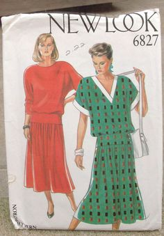 Uncut  New Look Pattern  6827 Misses VNeck & by lovelylovepatterns, $3.50