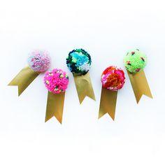 speckled pompom gift tags - Kitiya Palaskas