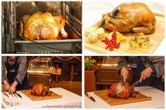 Thanksgiving-Truthahn mit Cranberry-Jus und in Ahornsirup glasierten Möhrchen, Kürbiskuchen und Maisbrot Thanksgiving Truthahn am Tisch tranchiert mit Videoanleitung