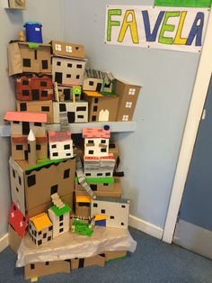 Cardboard favela buildings. This is now a built in feature of my classroom!