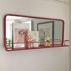 Landscape Carriage Mirror painted a Deep Raspberry - a perfect solution for kitchens, bathrooms and office spaces