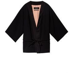 Black Kimono Blazer (13.210 RUB) ❤ liked on Polyvore featuring outerwear, jackets, blazers, cocktail jacket, blazer jacket, kimono jacket, dinner suit and evening jackets