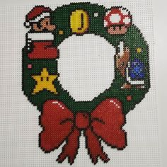Super Mario Christmas wreath hama beads by parlfrugan