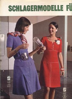 1972 Red and Purple Dresses 70s Fashion, Teen Fashion, Fashion Models, Vintage Fashion, Womens Fashion, Burda Patterns, Vintage Sewing Patterns, Purple Dress, Vintage Images