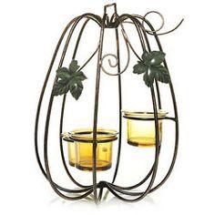 Yankee Candle metal pumpkin centerpiece tea lite votive holder Antique Bronze