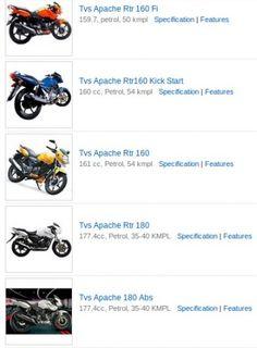 View TVS Apache Price, TVS Apache models, Read TVS Apache reviews, Price: Rs 67710, Average: 50 kmpl, Type:bike, Reviews:28