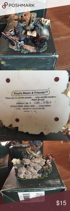 Boyds Bears and Friends . Union Jack Live Letters Boyds bear collection. Boyds Bears and friends. One Union Jack… Love letters. Preowned comes with box. Great condition. Very cute. boyds bears Other