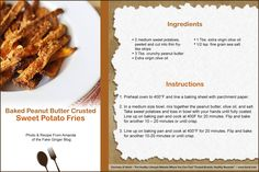 """Baked Peanut Butter Sweet Potato Fries via @fakeginger ~ To download, do a right-click on your mouse and either """"Copy Image"""" and directly paste it to Word OR you can do a """"Save As"""" to your desktop to import at a later date. Please note that you might have to crop the image to 4"""" x 6""""."""