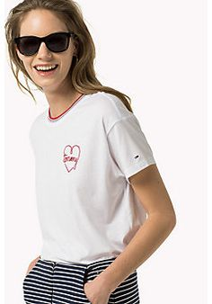 Embroidered Logo T-Shirt - BRIGHT WHITE - HILFIGER DENIM Clothing - main image