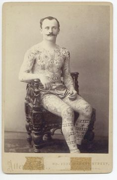 CABINET CARD of Unidentified Tattooed Dandy. By Allen & Co. Circa 1890's.