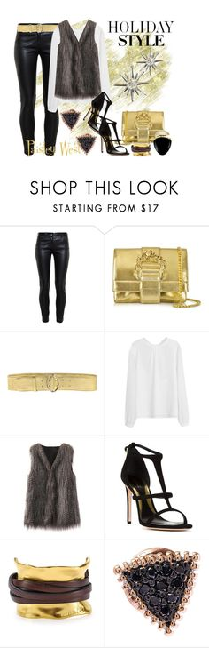 """Holiday Style: :Leather Pants"" by paisleywest ❤ liked on Polyvore featuring Balenciaga, Roberto Cavalli, Prada, Sebastian Milano, Uno de 50, Kismet, Bulgari and holidaystyle"