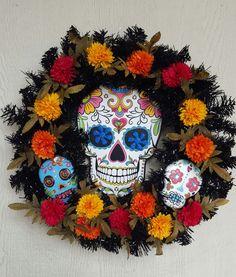 New listing.... Day of the Dead, Dia de los Muertos black pine wreath.