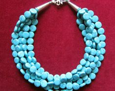 Collier multibrins bleu...Déclaration turquoise collier...Torsade Chunky Bib...Mariage bleu...