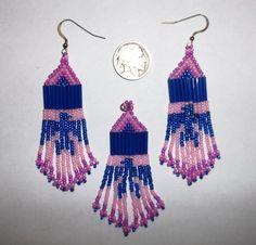 Native American Style Beaded Earrings and Pendant Set Thunderbird beaded by me #Handmade