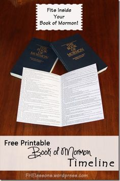 Free Printable Book of Mormon Timeline - bookmark or scripture insert - Awesome!