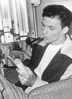 A young Frank Sinatra, c. 1945...smoking the pipe. - web source - MReno
