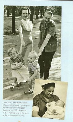 Martin CLunes with sister, mom, and dad. Lower right is Martin with nanny. Pic is from his book.
